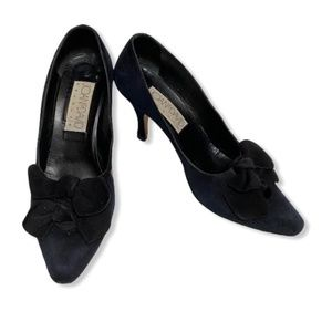 Vintage Joan And David Suede Double Bow Heels 8.5